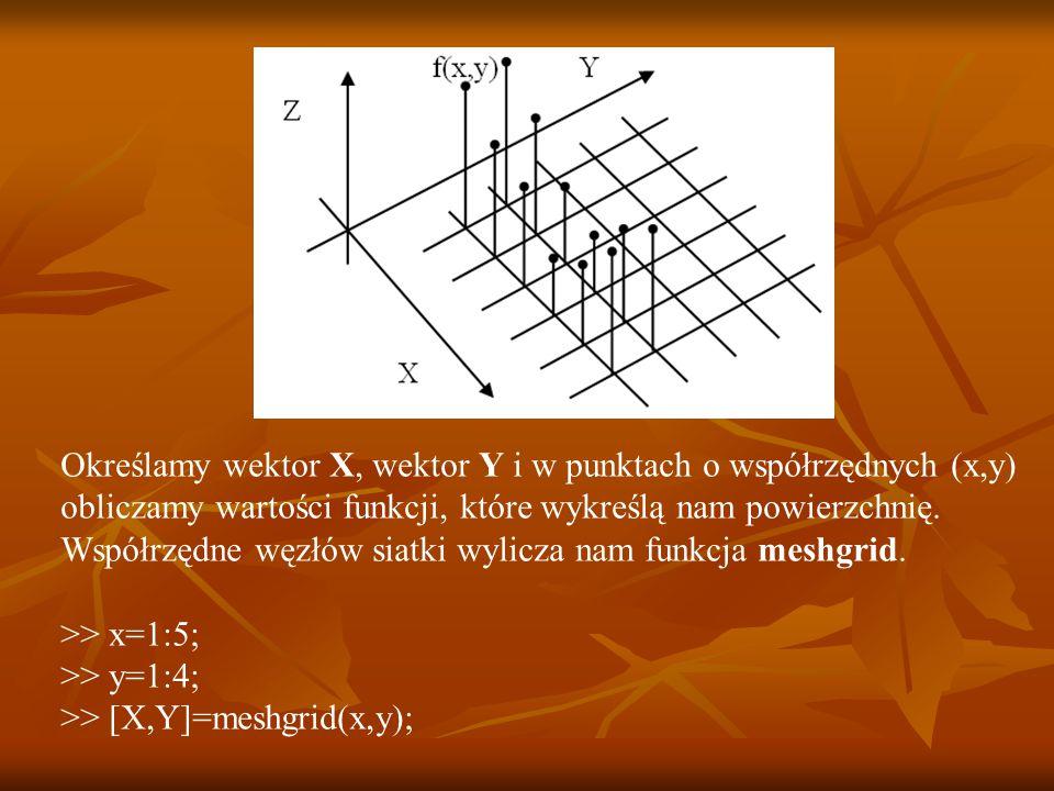 Określamy wektor X, wektor Y i w punktach o współrzędnych (x,y)