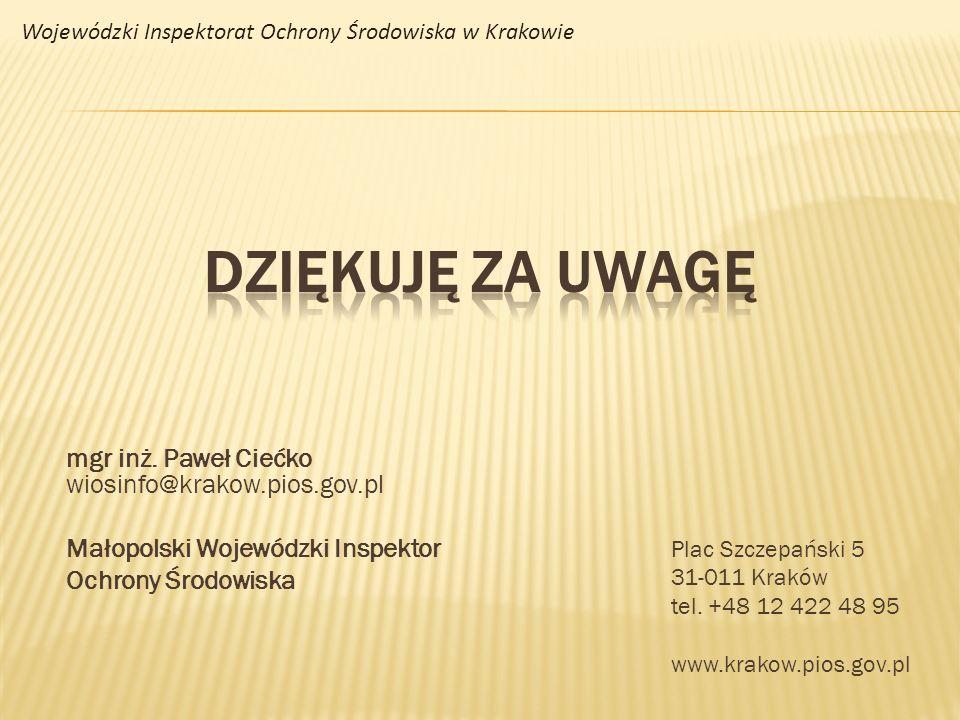 DZIĘKUJĘ ZA UWAGĘ mgr inż. Paweł Ciećko wiosinfo@krakow.pios.gov.pl