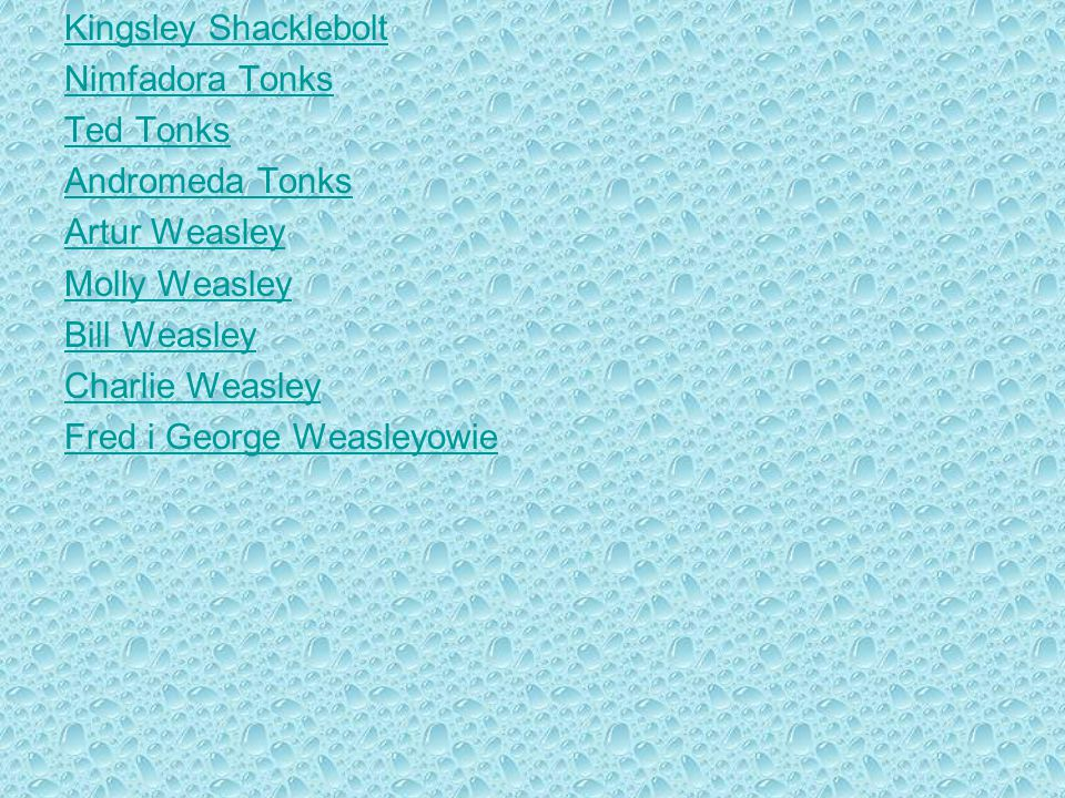 Kingsley Shacklebolt Nimfadora Tonks. Ted Tonks. Andromeda Tonks. Artur Weasley. Molly Weasley.