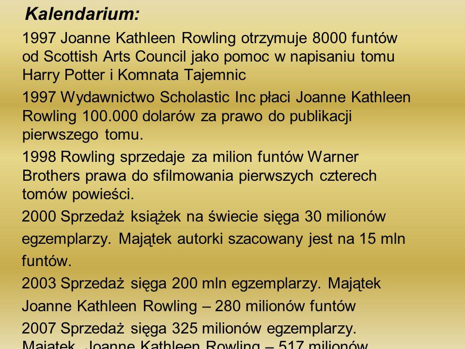 Kalendarium: 1997 Joanne Kathleen Rowling otrzymuje 8000 funtów od Scottish Arts Council jako pomoc w napisaniu tomu Harry Potter i Komnata Tajemnic.