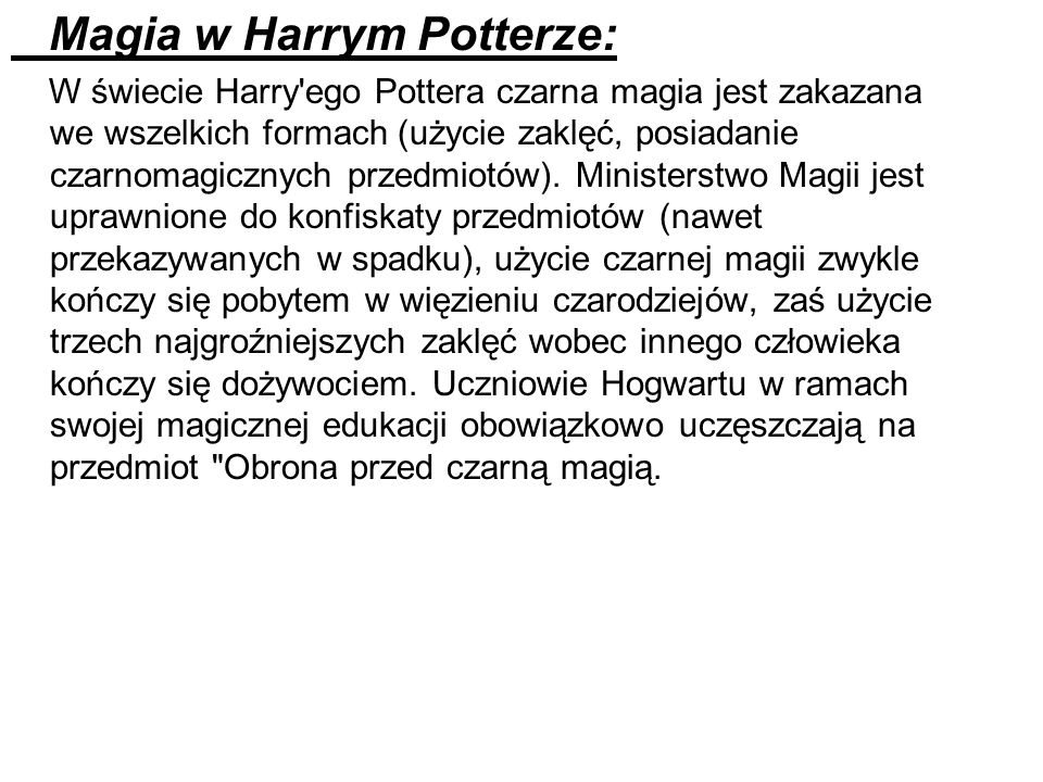 Magia w Harrym Potterze: