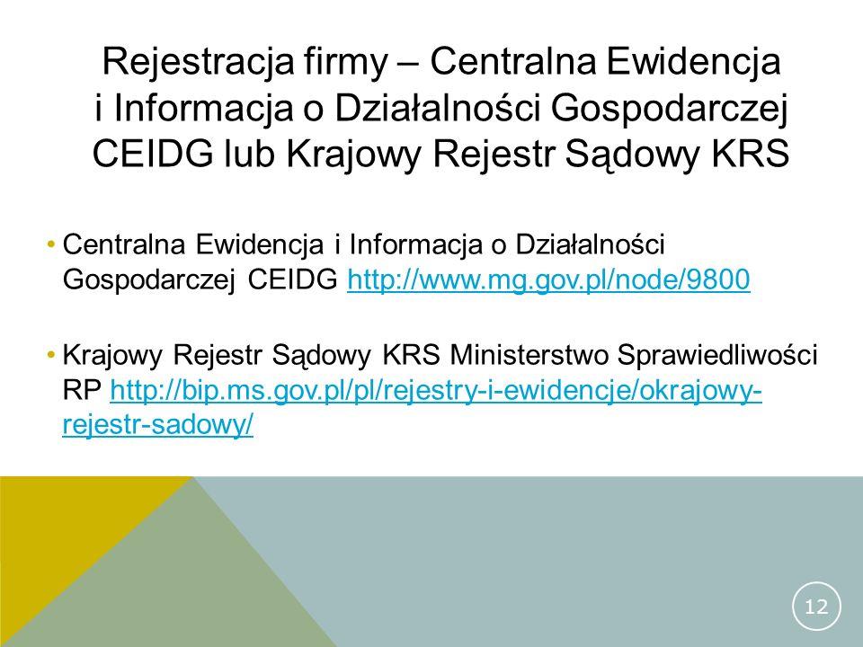 Rejestracja firmy – Centralna Ewidencja i Informacja o Działalności Gospodarczej CEIDG lub Krajowy Rejestr Sądowy KRS