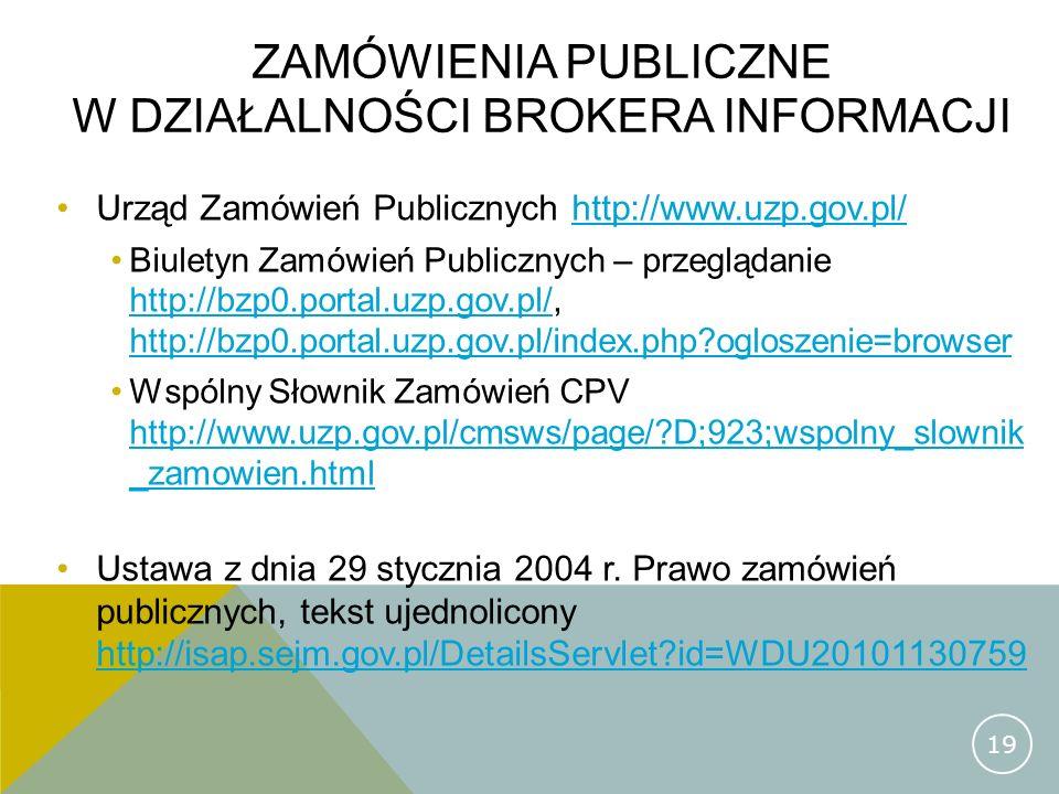 zamówienia publiczne w działalności brokera informacji