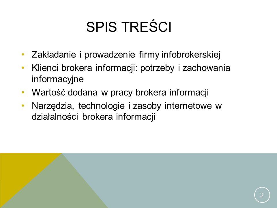 Spis treści Zakładanie i prowadzenie firmy infobrokerskiej