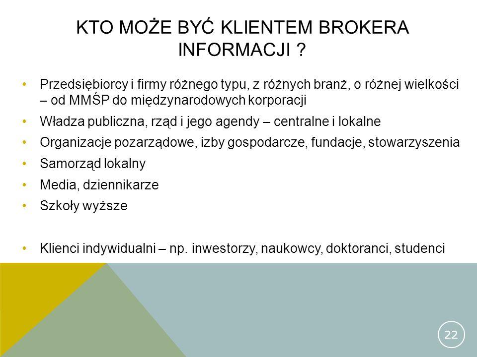 Kto może być klientem brokera informacji