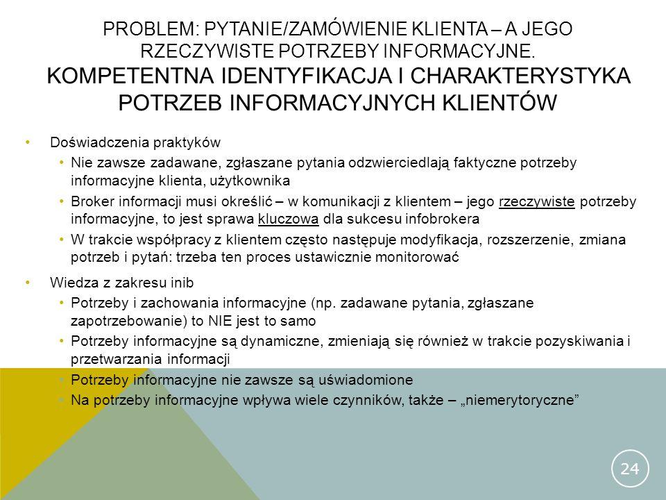 Problem: pytanie/zamówienie klienta – a jego rzeczywiste potrzeby informacyjne. Kompetentna identyfikacja i charakterystyka potrzeb informacyjnych klientów
