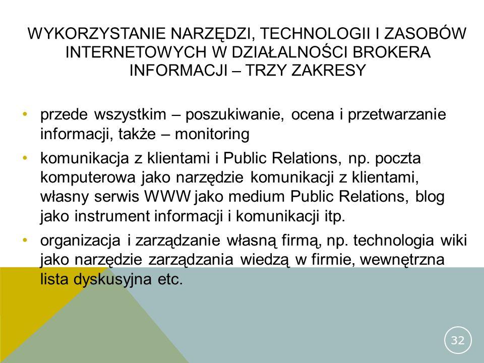 Wykorzystanie narzędzi, technologii i zasobów internetowych w działalności brokera informacji – trzy zakresy