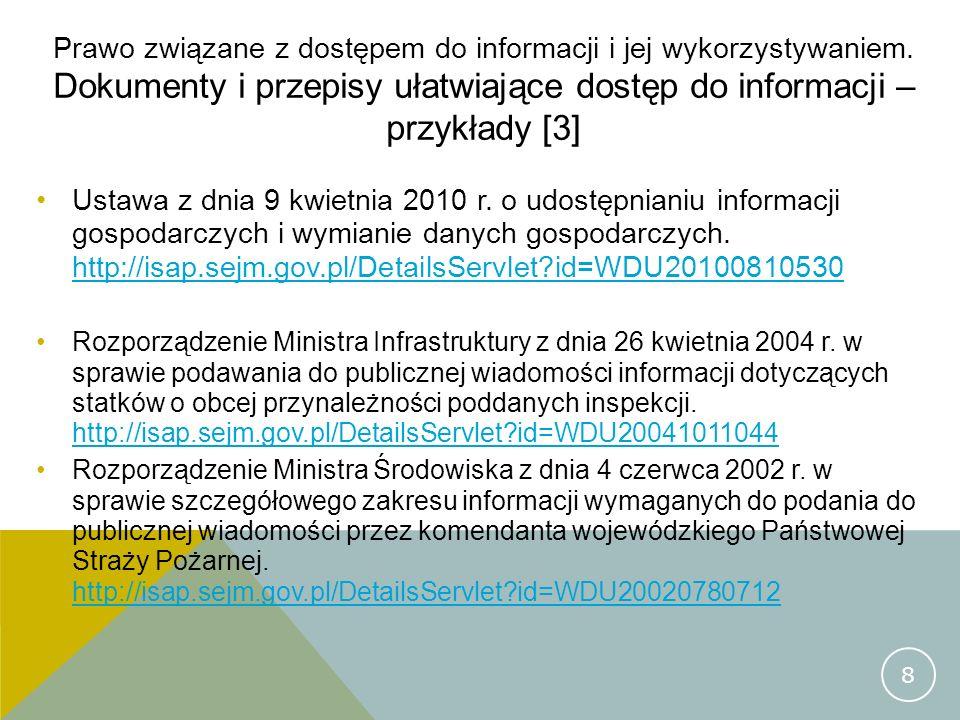 Prawo związane z dostępem do informacji i jej wykorzystywaniem