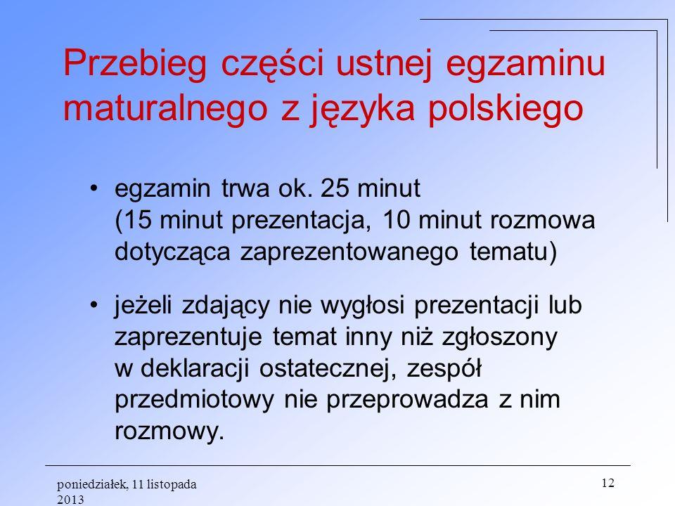 Przebieg części ustnej egzaminu maturalnego z języka polskiego
