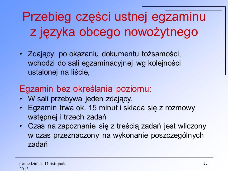 Przebieg części ustnej egzaminu z języka obcego nowożytnego