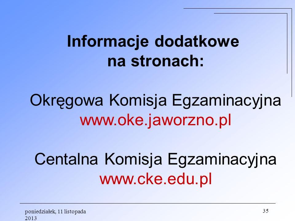 Informacje dodatkowe na stronach: