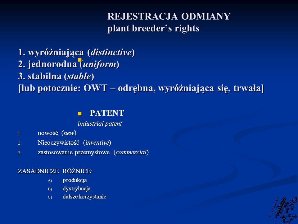 REJESTRACJA ODMIANY. plant breeder's rights 1