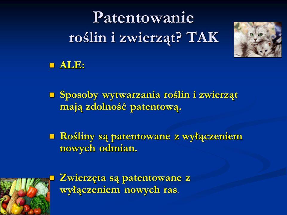 Patentowanie roślin i zwierząt TAK