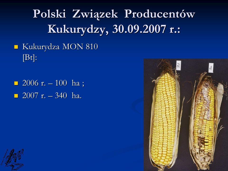 Polski Związek Producentów Kukurydzy, 30.09.2007 r.: