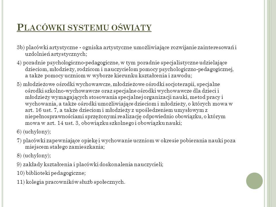 Placówki systemu oświaty