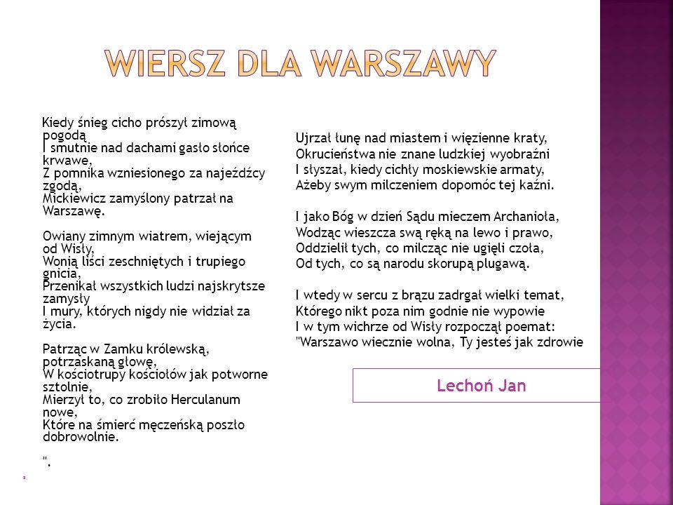 Wiersz dla Warszawy Lechoń Jan