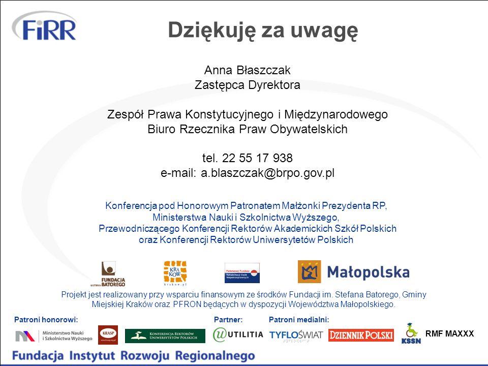 Dziękuję za uwagę Anna Błaszczak Zastępca Dyrektora