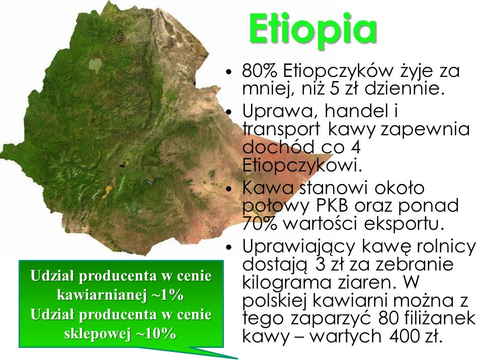 Etiopia 80% Etiopczyków żyje za mniej, niż 5 zł dziennie.