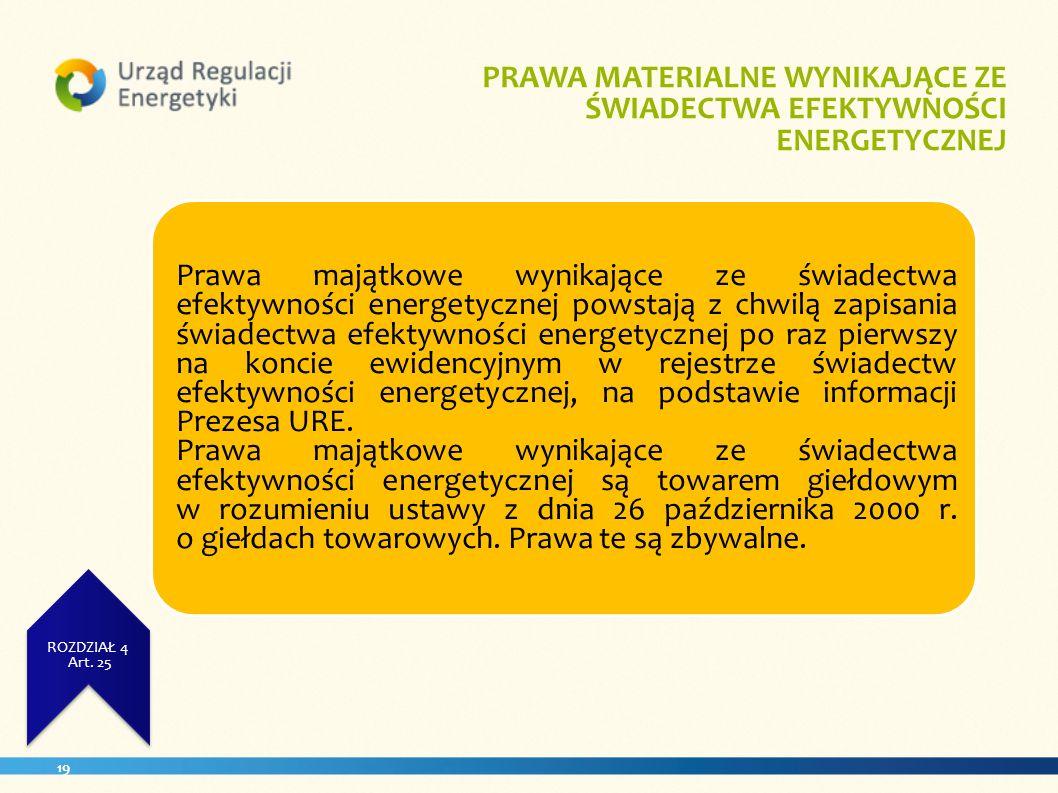. PRAWA MATERIALNE WYNIKAJĄCE ZE ŚWIADECTWA EFEKTYWNOŚCI ENERGETYCZNEJ