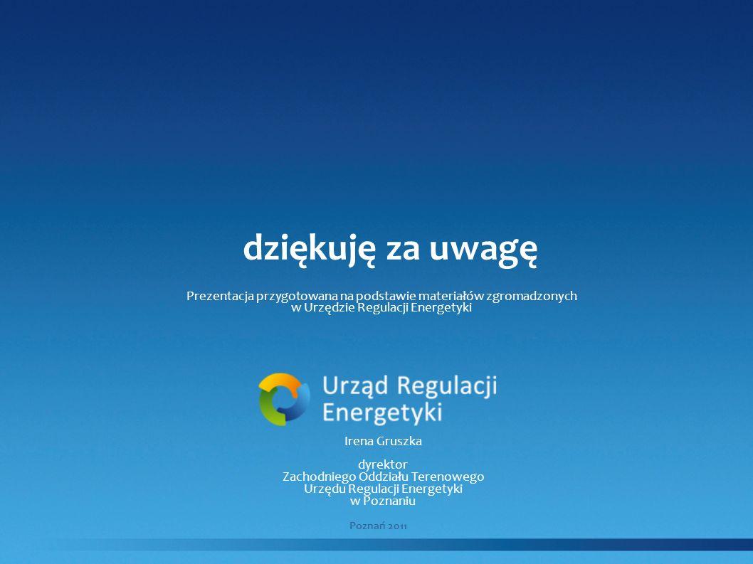 dziękuję za uwagę Prezentacja przygotowana na podstawie materiałów zgromadzonych. w Urzędzie Regulacji Energetyki.