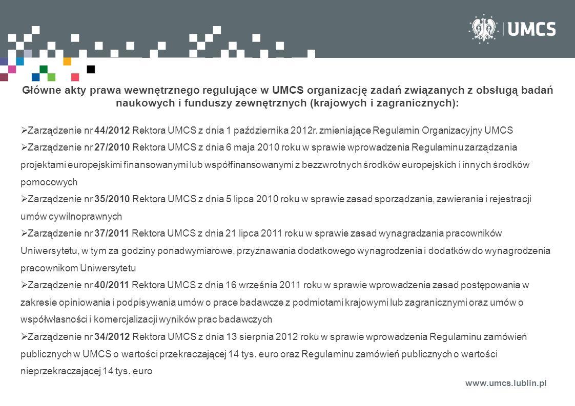 Główne akty prawa wewnętrznego regulujące w UMCS organizację zadań związanych z obsługą badań naukowych i funduszy zewnętrznych (krajowych i zagranicznych):