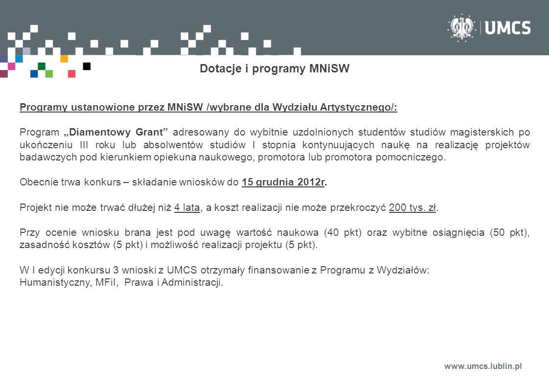 Dotacje i programy MNiSW