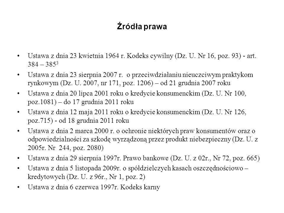 Źródła prawa Ustawa z dnia 23 kwietnia 1964 r. Kodeks cywilny (Dz. U. Nr 16, poz. 93) - art. 384 – 3853.
