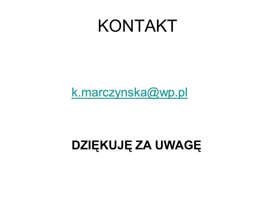 KONTAKT k.marczynska@wp.pl DZIĘKUJĘ ZA UWAGĘ