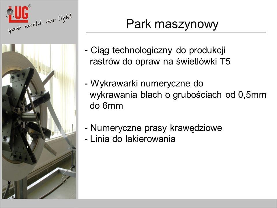 Park maszynowy rastrów do opraw na świetlówki T5