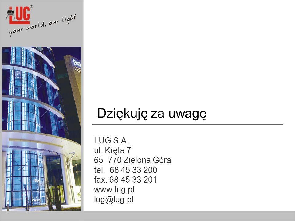 Dziękuję za uwagę LUG S.A. ul. Kręta 7 65–770 Zielona Góra