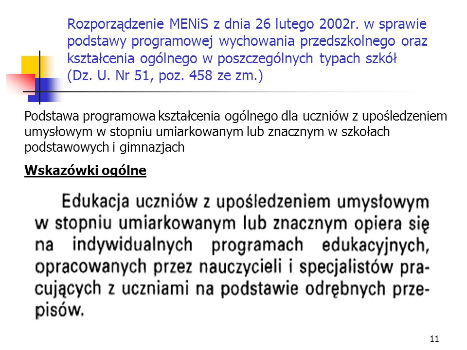 Rozporządzenie MENiS z dnia 26 lutego 2002r