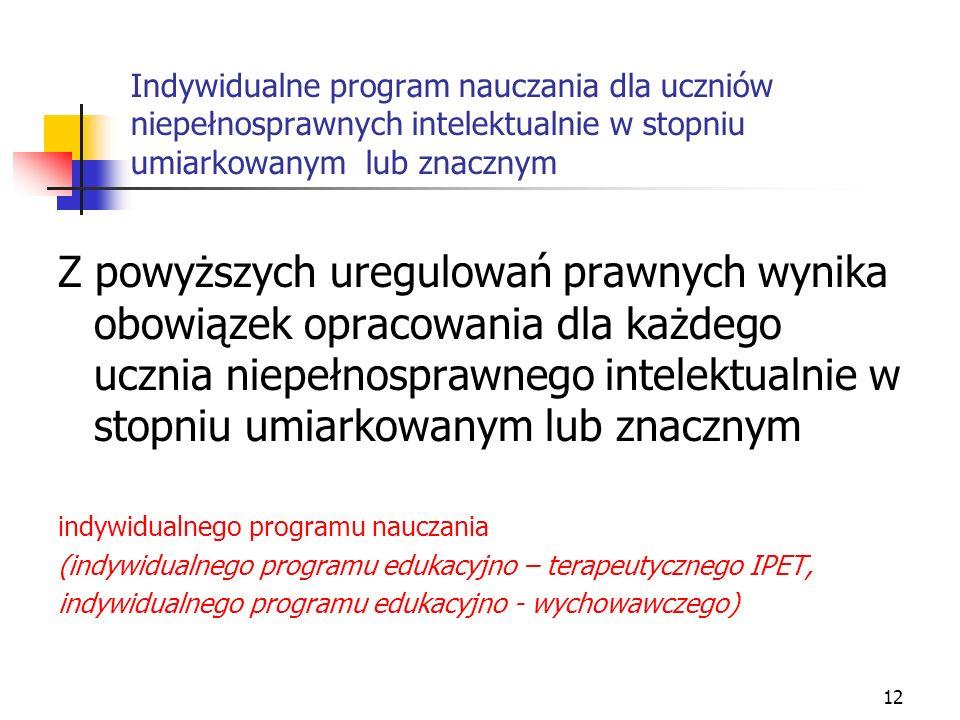 Indywidualne program nauczania dla uczniów niepełnosprawnych intelektualnie w stopniu umiarkowanym lub znacznym