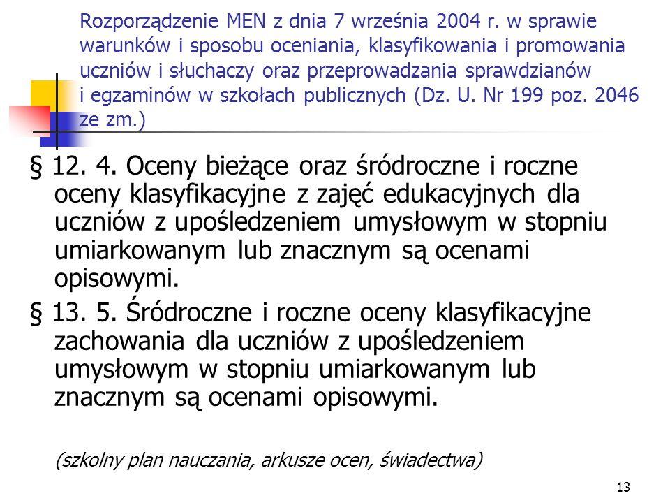 Rozporządzenie MEN z dnia 7 września 2004 r