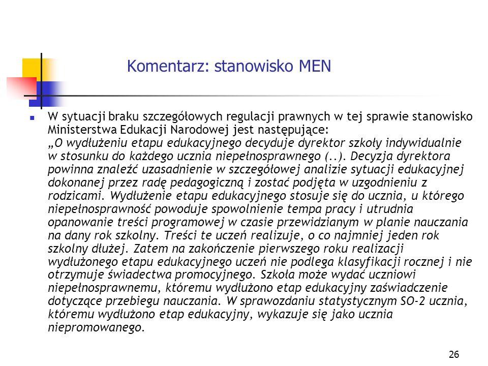 Komentarz: stanowisko MEN