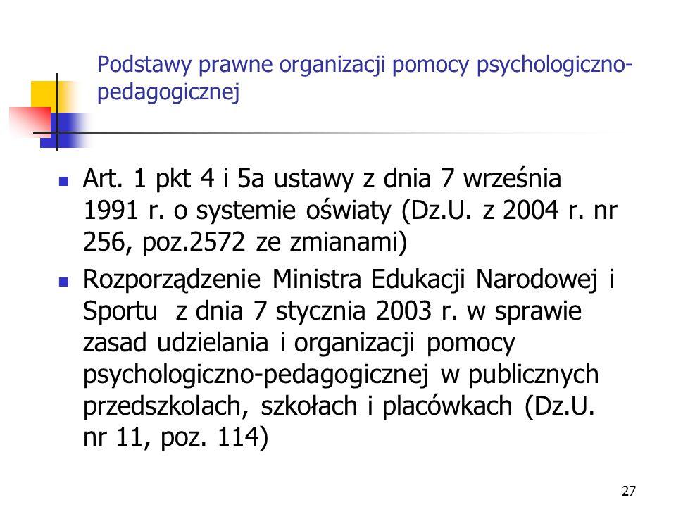 Podstawy prawne organizacji pomocy psychologiczno-pedagogicznej