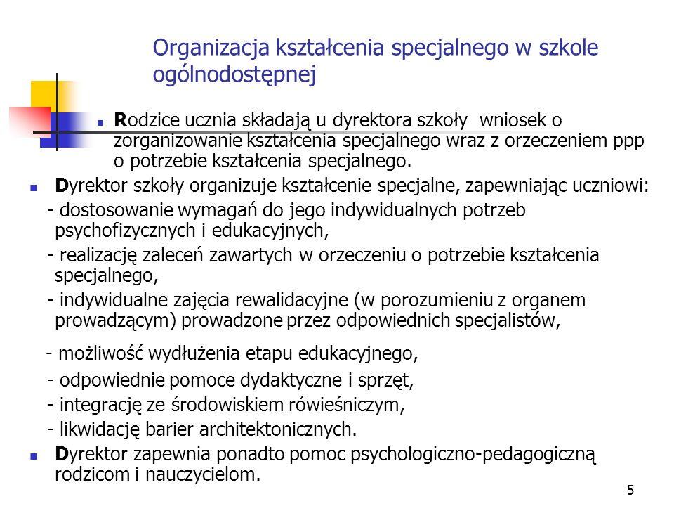 Organizacja kształcenia specjalnego w szkole ogólnodostępnej