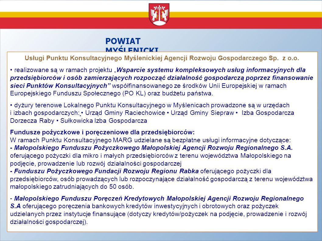 POWIAT MYŚLENICKI Usługi Punktu Konsultacyjnego Myślenickiej Agencji Rozwoju Gospodarczego Sp. z o.o.