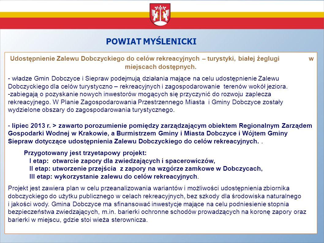 POWIAT MYŚLENICKI Udostępnienie Zalewu Dobczyckiego do celów rekreacyjnych – turystyki, białej żeglugi w miejscach dostępnych.
