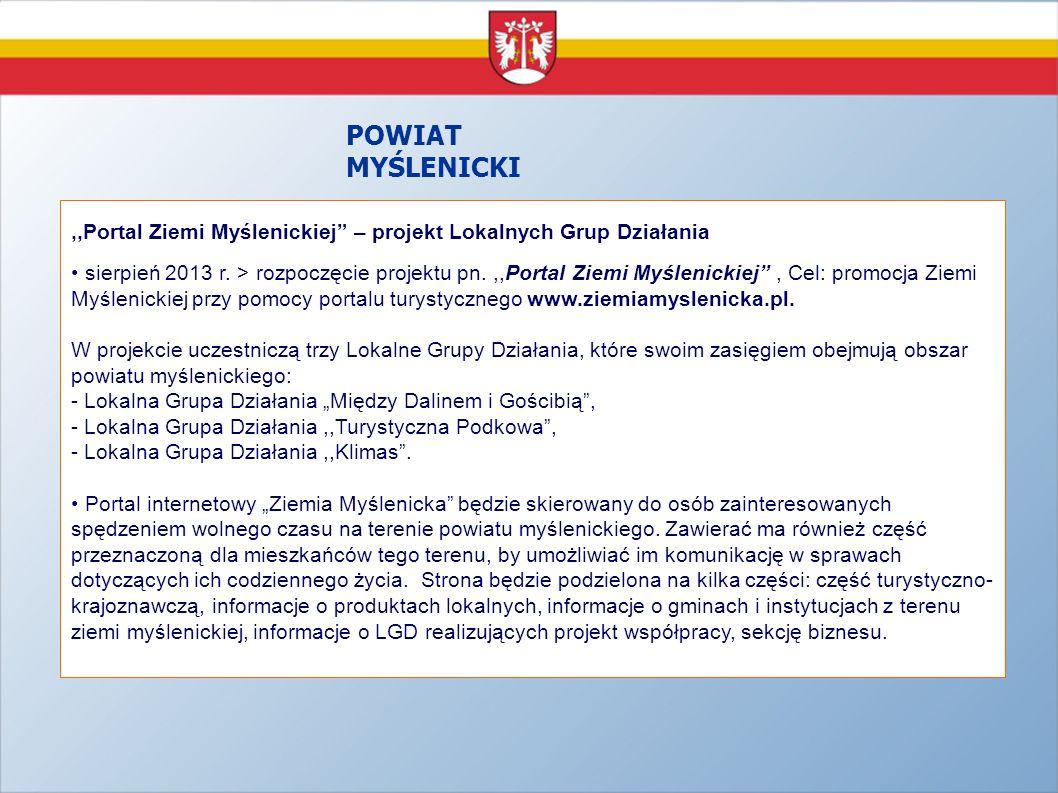 POWIAT MYŚLENICKI ,,Portal Ziemi Myślenickiej – projekt Lokalnych Grup Działania.