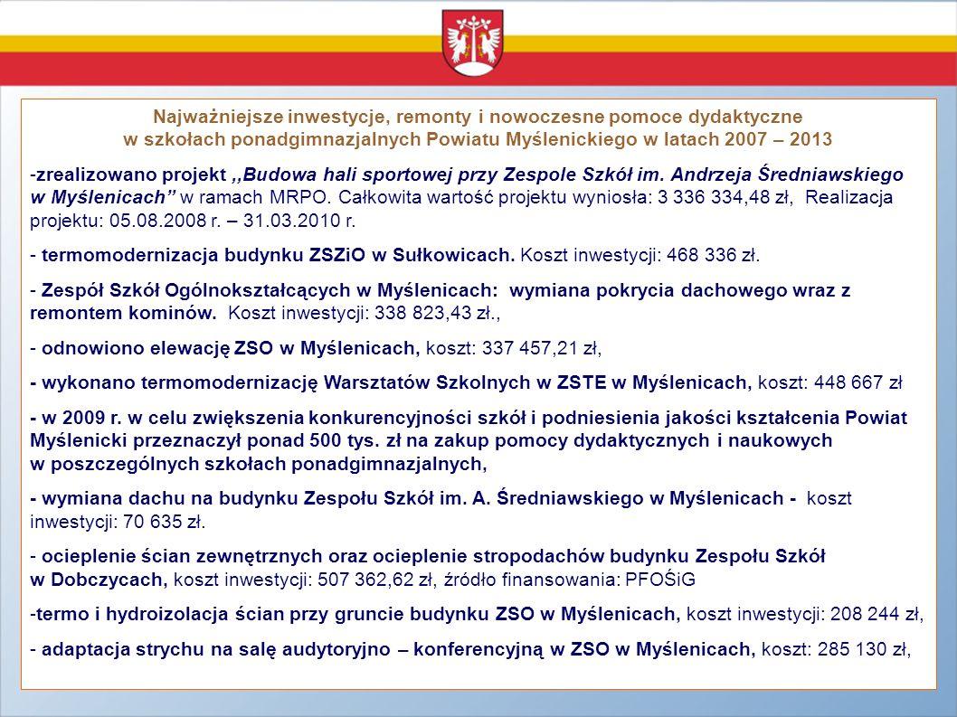 Najważniejsze inwestycje, remonty i nowoczesne pomoce dydaktyczne w szkołach ponadgimnazjalnych Powiatu Myślenickiego w latach 2007 – 2013