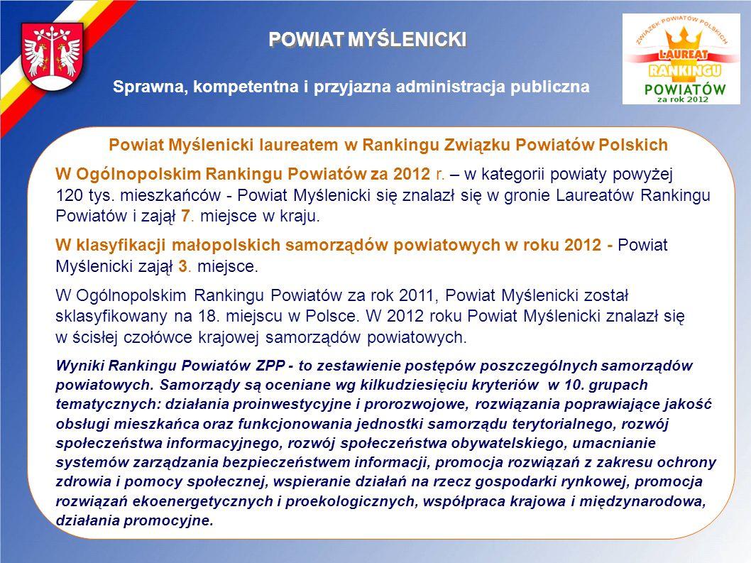 POWIAT MYŚLENICKI Sprawna, kompetentna i przyjazna administracja publiczna. Powiat Myślenicki laureatem w Rankingu Związku Powiatów Polskich.