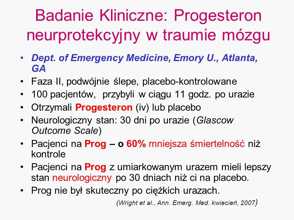 Badanie Kliniczne: Progesteron neurprotekcyjny w traumie mózgu