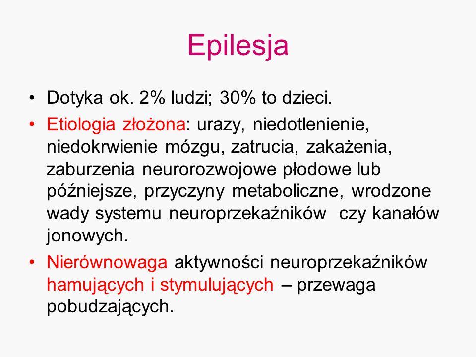 Epilesja Dotyka ok. 2% ludzi; 30% to dzieci.