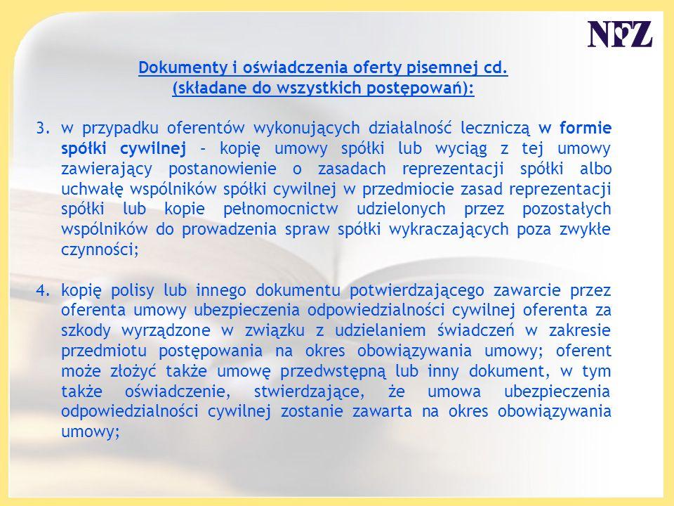 Dokumenty i oświadczenia oferty pisemnej cd.