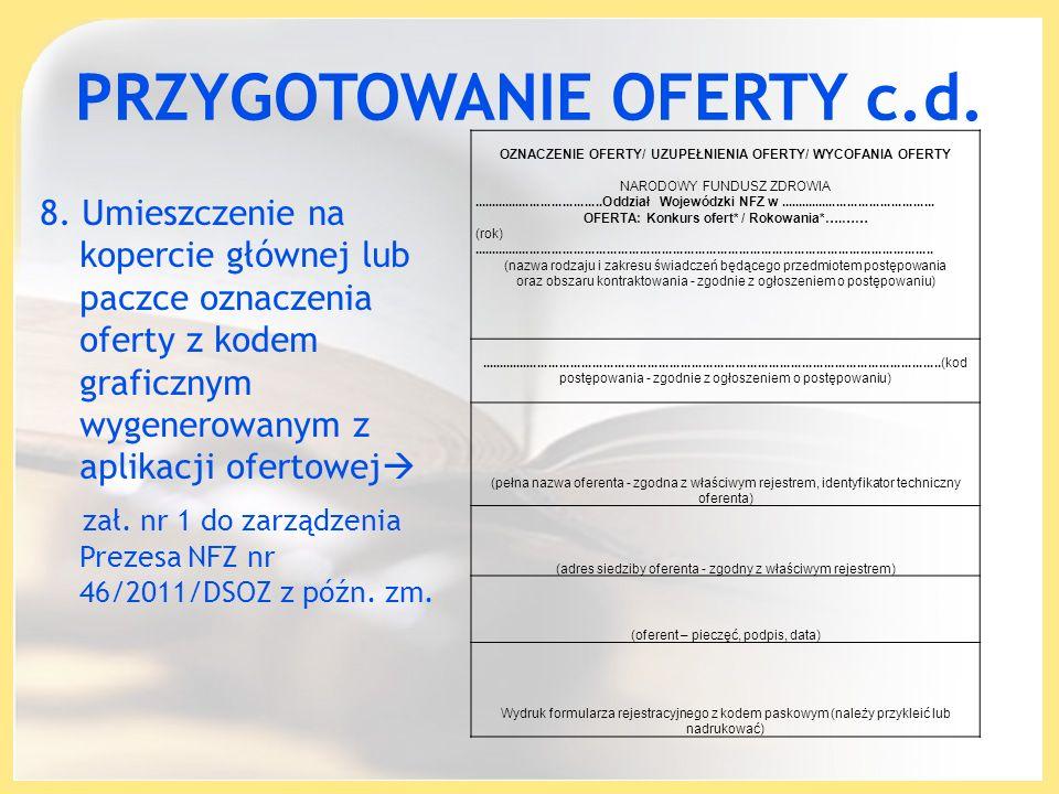 PRZYGOTOWANIE OFERTY c.d.