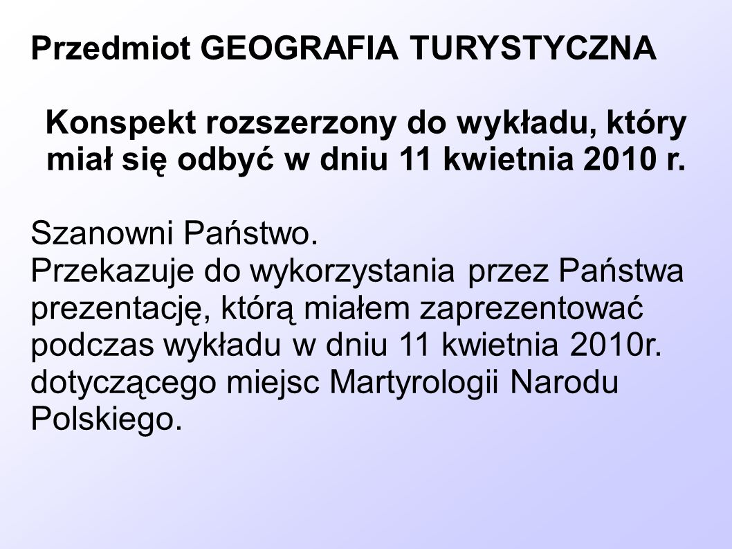 Przedmiot GEOGRAFIA TURYSTYCZNA