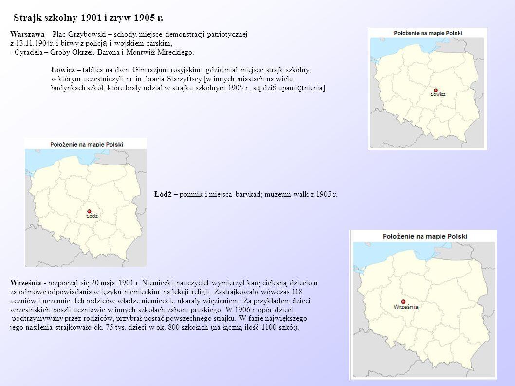 Strajk szkolny 1901 i zryw 1905 r.Warszawa – Plac Grzybowski – schody. miejsce demonstracji patriotycznej.