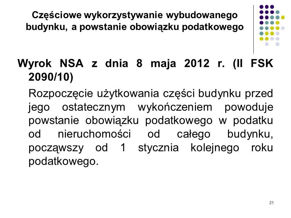 Wyrok NSA z dnia 8 maja 2012 r. (II FSK 2090/10)