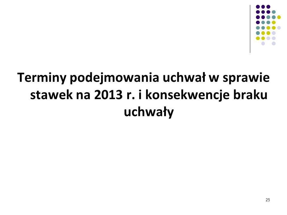 Terminy podejmowania uchwał w sprawie stawek na 2013 r