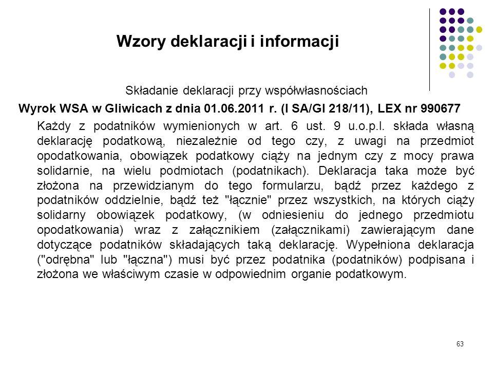 Wzory deklaracji i informacji